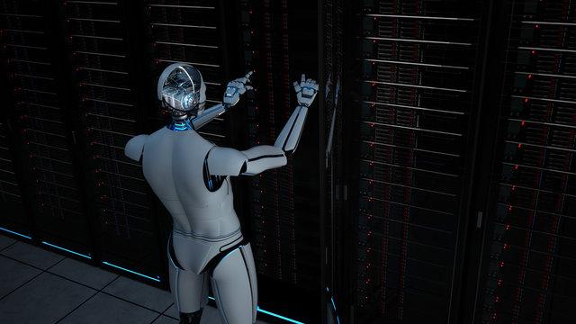 Humanoid Robot Server Room Maintenance