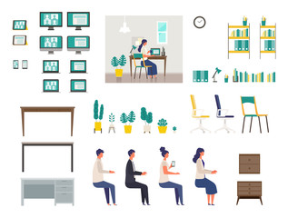 Set of vector interiors for home office. Isolated modern flat vector illustrations of various interiors for teleconference.