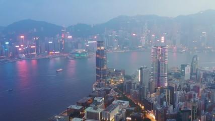 Wall Mural - misty evening, Victoria Harbour, Hong Kong