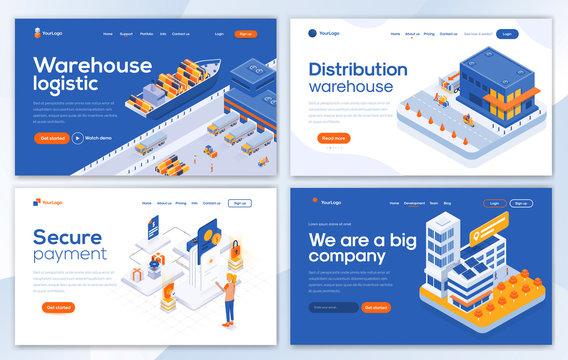 Flat Modern design of Landing page template -Warehouse set