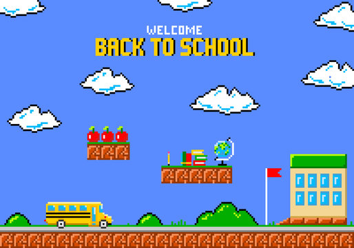 Back to school pixel art greeting card. Yellow school bus in style of eight-bit game.  Vector illustration.
