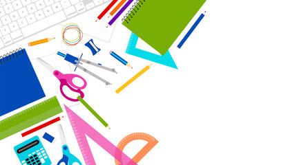 sfondo, materiale scolastico, scuola, studiare