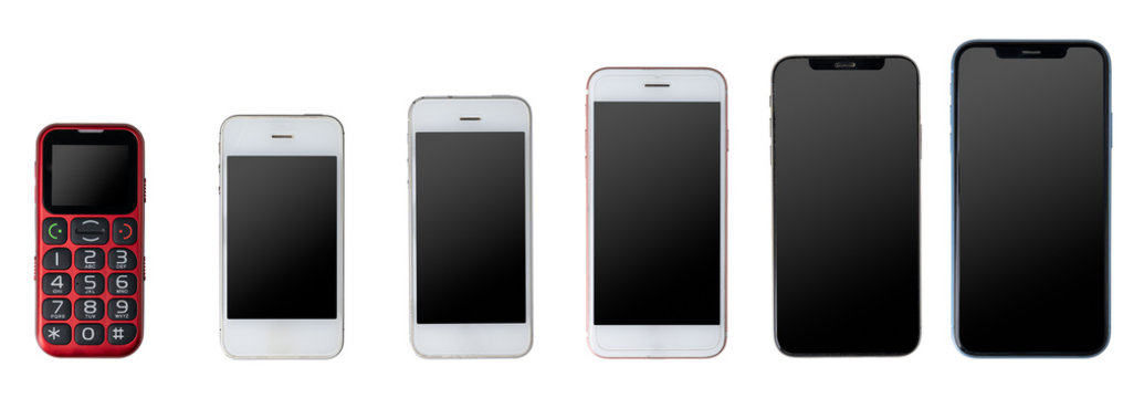 Phone evolution from cellphone to newest generation smartphone. Isolated on white background.