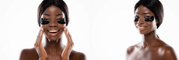 collage of african american naked woman with hydrogel eye patches on face isolated on white