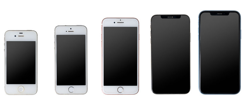 Gdansk, Poland - August 11, 2020: Apple iPhone smartphone evolution - 4S, 5S, 7, X and XR models.