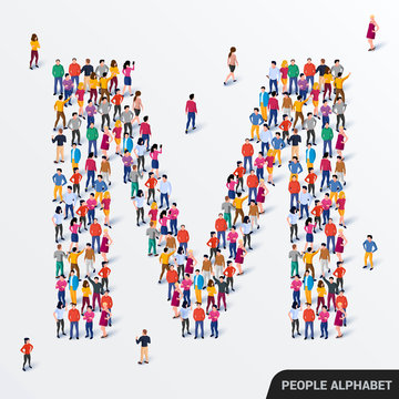Large group of people in letter M form. Human alphabet.