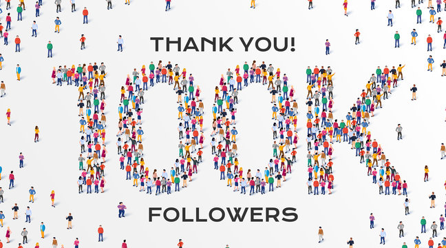 100K Followers. Group of business people are gathered together in the shape of 100000 word, for web page, banner, presentation, social media, Crowd of little people. Teamwork. Vector illustration