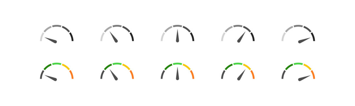 Speedometer simple icon set in color and black. Indicator concept in vector flat