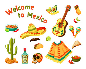 Mexican culture set. Sombrero and guitar with ethnic picture painted skull bottle tequila aromatic burrito hot chili peppers desert green cactus ponchos colorful ornaments. Vector ethno art.