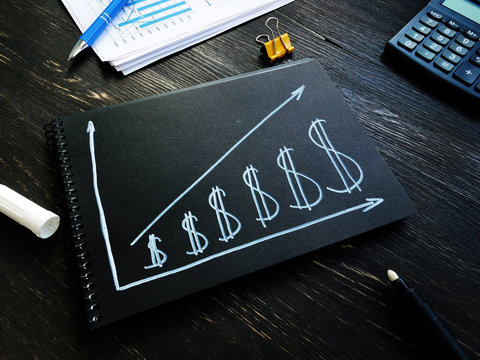Increase revenue and profit concept. Dollar signs and growing arrow.