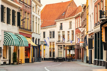 Empty shopping street in the ancient Dutch city of Zutphen