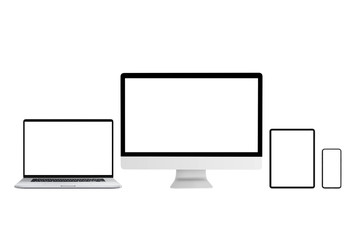 Wall Mural - Isolated computer and mobile devices mockup for responsive web or app design promotion