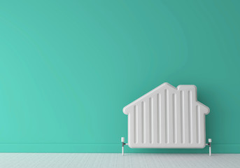 Heating radiator in the shape of a house. Home energy. 3D Rendering