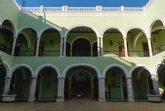 Inner courtyard of 'Palacio de Gobierno', the government Palace in Merida, Mexico.