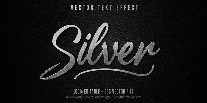 Metallic silver editable text effect on black canvas background