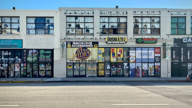 LOS ANGELES, CA, JUN 2020: various smoking supply shops and cannabis dispensaries in Downtown
