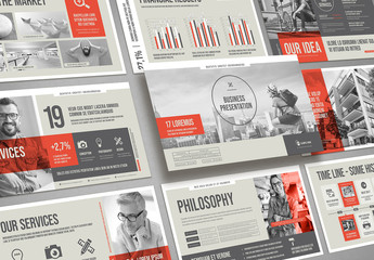 Business Presentation Layout in Beige and Gray with Red Accents