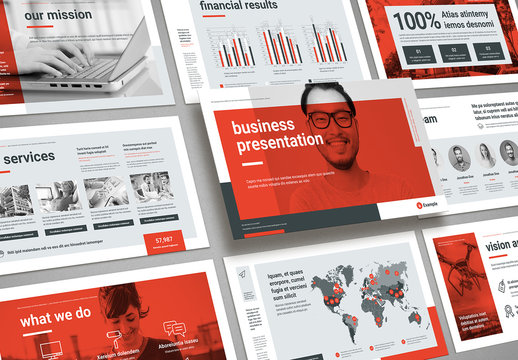 Business Presentation Layout in Gray and Red