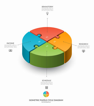 Infographic isometric puzzle circular template. Cycle diagram with 4 steps, pieces, parts. 3d process chart that can be used for report, business analytics, data visualization and presentation.