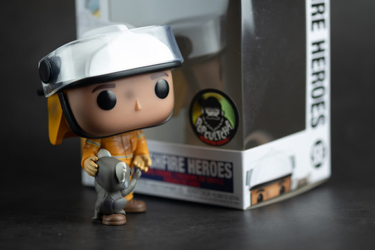 Bangkok, Thailand - August 17, 2020 : Toy for charity. Funko Pop figure exclusive Bushfire Heroes Firefighter with Koala (Funko Pop)