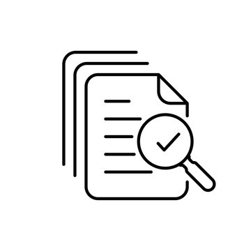 Magnifying glass like check assess. Scrutiny plan, verify service critique process and annual examination concept. Audit icon vector line style graphic design quality sign or success proven