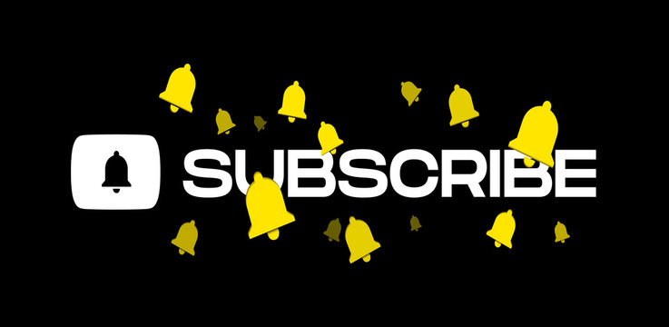 Youtube Subscribe Title With Flying Bells Vector Illustration On Black Background