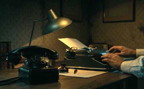 Film noir journalist working at office desk