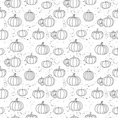 Photo sur Plexiglas Artificiel Cute pumpkin design with several autumn pumpkins - funny hand drawn doodle, seamless pattern. Lettering poster or t-shirt textile graphic design. / wallpaper, wrapping paper, background.