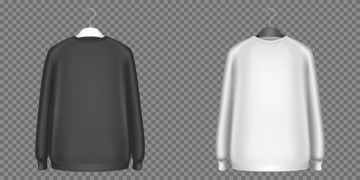 Black and white sweatshirts, longsleeves shirts isolated on transparent background. Vector realistic mockup of sweaters, men pullover in front view. Blank template of basic top clothes