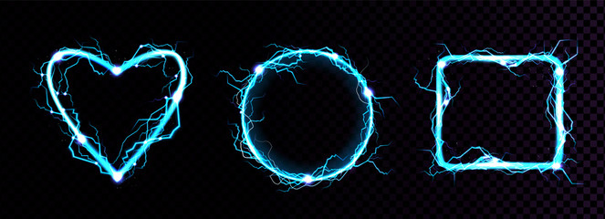 Electric lightning frames in shape of circle, heart and square. Digital glowing neon borders. Vector realistic set of blue sparking discharge isolated on transparent background