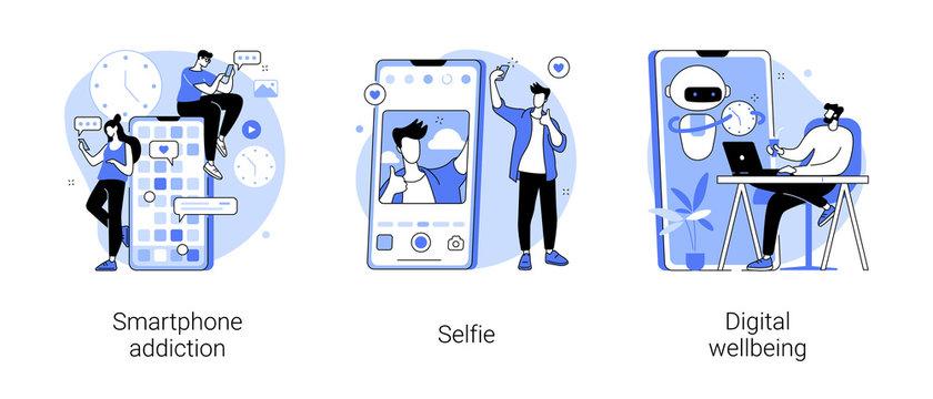 Digital culture abstract concept vector illustration set. Smartphone addiction, selfie, digital wellbeing, phone checking, social network, digital camera, stress management abstract metaphor.