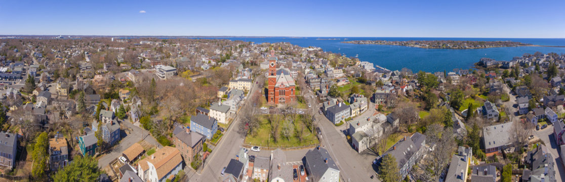 Abbott Hall panorama, built in 1876, is located at 188 Washington Street and now is town hall of Marblehead, Massachusetts MA, USA.