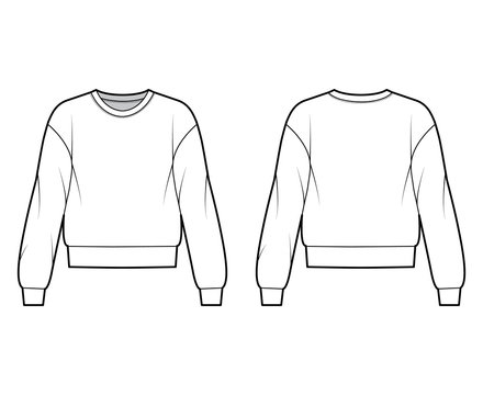 Cotton-terry sweatshirt technical fashion illustration with relaxed fit, crew neckline, long sleeves. Flat outwear jumper apparel template front, back, white color. Women, men, unisex top CAD mockup
