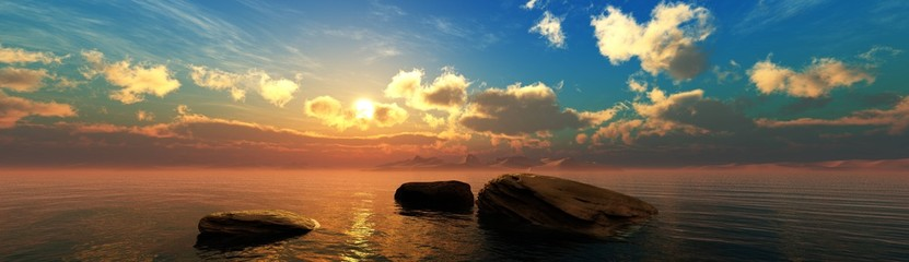 Stones in the water at sunset, sunset seascape, ocean sunrise over stones, 3D rendering