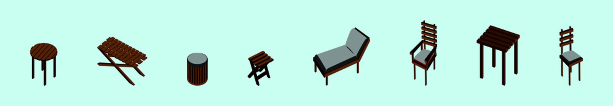 set of garden furniture and sun loungers icon design template with various models. vector illustration
