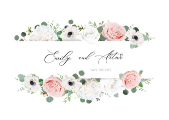 Stylish ivory white & blush peach wedding invite, invitation, save the date card design. Peony rose flower, tender anemone flowers, silver dollar, green eucalyptus leaves watercolor, style, chic frame