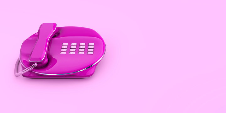 Fixed Phone close-up pink color connected 3d concept 3d rendering