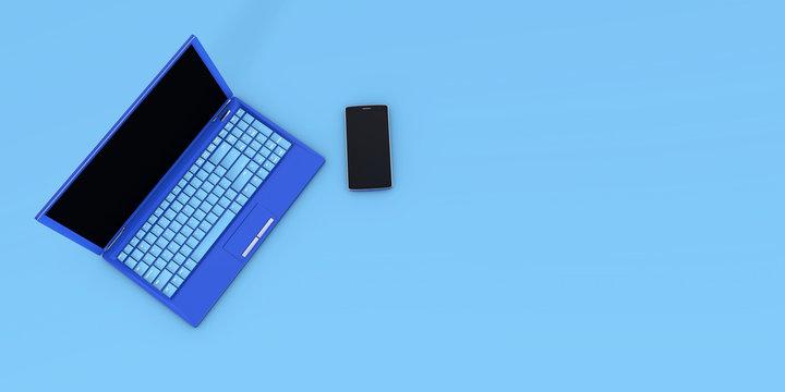 Smartphone Laptop concept 3d rendering