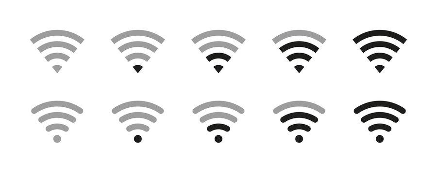 Wi-fi icon . Wirelles wifi signal symbol. Vector illustration on white background. Internet concept .