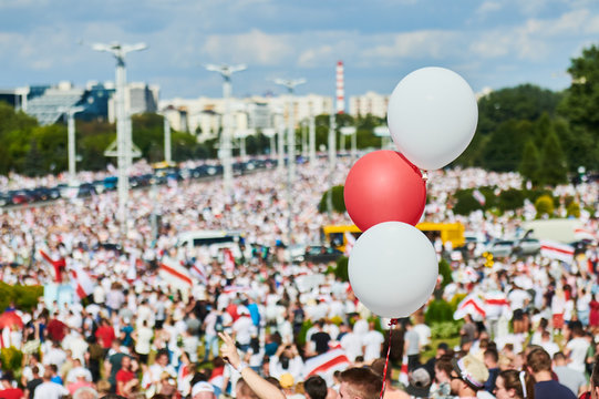 MINSK, BELARUS AUGUST 16, 2020 thousands of people attended a peaceful protest rally near Minsk Hero City Obelisk, for constitutional change of power.