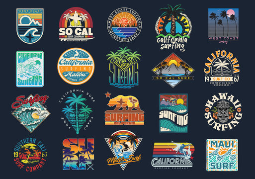 Surf Vector Patch Emblem Set. A collection of vintage, modern, hand drawn and clean vector surf designs.