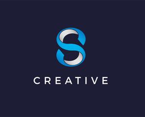 minimal letter s logo template - vector illustration