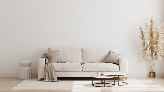 Scandinavian style living room interior mock up, modern living room interior background, beige sofa and pampas grass, 3d rendering