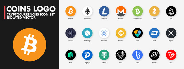 PARIS, FRANCE – AUGUST 18, 2020 : Popular cryptocurrencies logo icons, vector set : Bitcoin, Ethereum, Ripple, Monero, Litecoin, Zcash... Isolated Crypto-Currency coin buttons on white background.