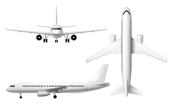 Plane or airplane, realistic aircraft or passenger aeroplane, vector 3D model isolated mockup. White blank airplane in flight, front, top and side view, airline jet with engines, civil aviation