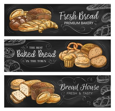 Bread house and bakery chalkboard banners. Rye and wheat bread with cheese, bloomer loaf, croissant and pretzel, bun for hamburger and sweet muffin chalk sketch vector. Bakeshop fresh pastry
