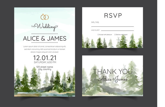 wedding invitation with mountain view watercolor background