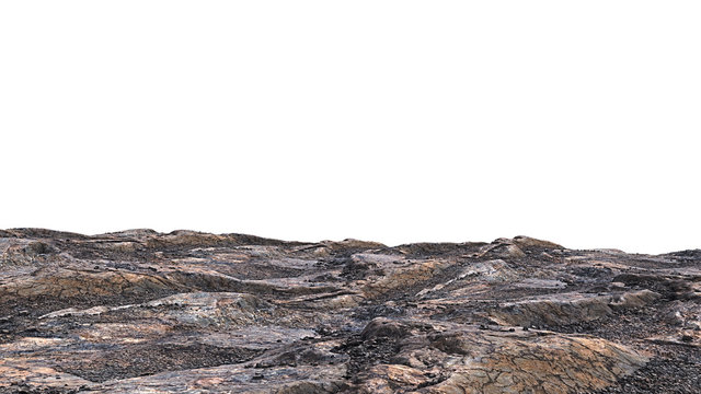 rocky cliff isolated on white background, edge of the mountain