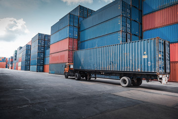 Container Cargo Port Ship Yard Storage Handling of Logistic Transportation Industry. Row of Stacking Containers of Freight Import/Export Distribution Warehouse. Shipping Logistics Transport Industrial