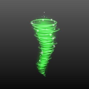 Realistic green magic light tornado with sparkling stars